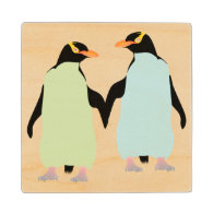 Gay Pride Penguins Holding Hands Maple Wood Coaster