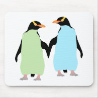 Gay Pride Penguins Holding Hands Mouse Pad