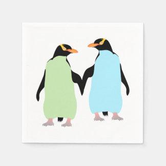 Gay Pride Penguins Holding Hands Napkin