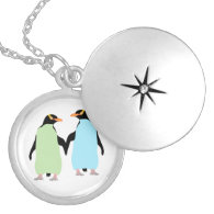 Gay Pride Penguins Holding Hands Round Locket Necklace
