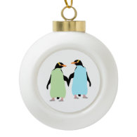 Gay Pride Penguins Holding Hands Ceramic Ball Ornament