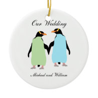 Gay Pride Penguins Holding Hands Round Ceramic Ornament