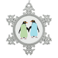 Gay Pride Penguins Holding Hands Pewter Snowflake Ornament