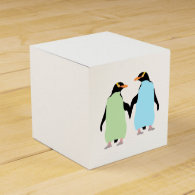 Gay Pride Penguins Holding Hands Party Favor Box
