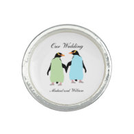 Gay Pride Penguins Holding Hands Photo Ring