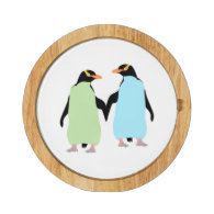 Gay Pride Penguins Holding Hands Round Cheese Board