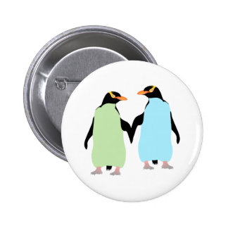 Gay Pride Penguins Holding Hands Pinback Button