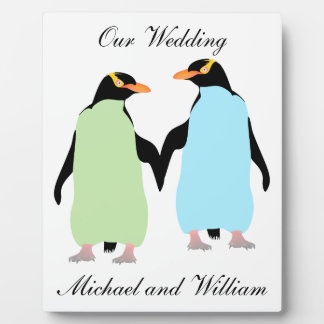 Gay Pride Penguins Holding Hands Photo Plaques