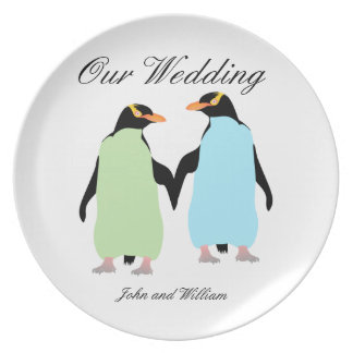 Gay Pride Penguins Holding Hands Plate