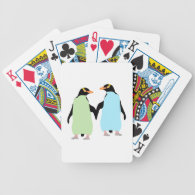 Gay Pride Penguins Holding Hands Bicycle Playing Cards