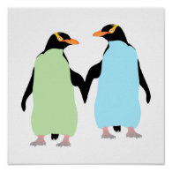 Gay Pride Penguins Holding Hands Poster