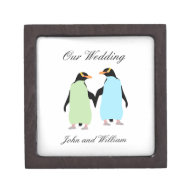 Gay Pride Penguins Holding Hands Premium Gift Boxes