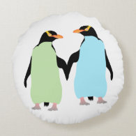 Gay Pride Penguins Holding Hands Round Pillow