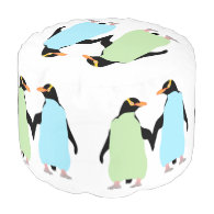 Gay Pride Penguins Holding Hands Round Pouf