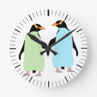 Gay Pride Penguins Holding Hands Round Wall Clock