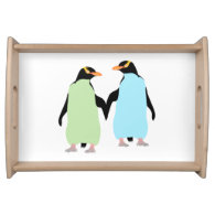 Gay Pride Penguins Holding Hands Serving Tray