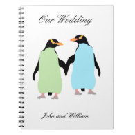 Gay Pride Penguins Holding Hands Spiral Note Books