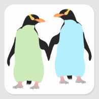 Gay Pride Penguins Holding Hands Square Sticker