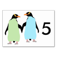 Gay Pride Penguins Holding Hands Table Card