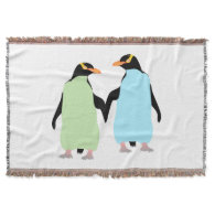 Gay Pride Penguins Holding Hands Throw Blanket