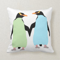 Gay Pride Penguins Holding Hands Throw Pillow
