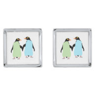 Gay Pride Penguins Holding Hands Silver Finish Cuff Links