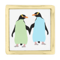 Gay Pride Penguins Holding Hands Gold Finish Lapel Pin