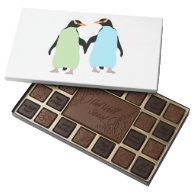 Gay Pride Penguins Holding Hands 45 Piece Assorted Chocolate Box