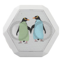 Gay Pride Penguins Holding Hands White Bluetooth Speaker