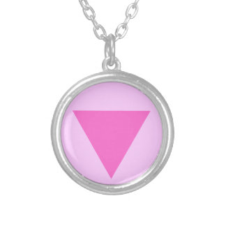 Gay Pride Pink Triangle Round Pendant Necklace
