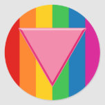 Gay Pride Pink Triangle Round Sticker