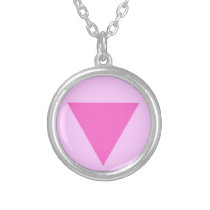 Gay Pride Pink Triangle Silver Plated Necklace