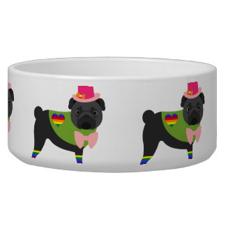 Gay Pride Pug - Black Pug - Pink Hat Bowl
