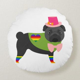 Gay Pride Pug - Black Pug - Pink Hat Round Pillow