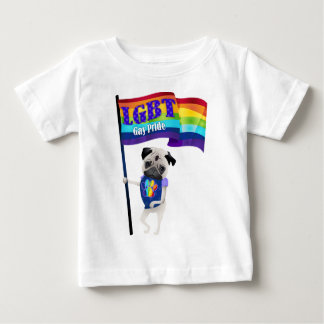 Gay Pride Pug with Flag.png Baby T-Shirt