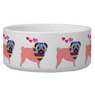 Gay Pride Pug with Hearts and Bandana Bowl