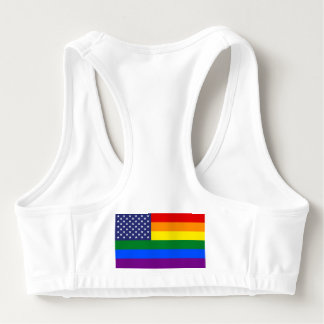 Gay Pride Rainbow American Flag Sports Bra
