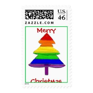 Gay Pride Rainbow Christmas Tree stamp