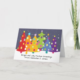 Gay Pride Rainbow Christmas Trees LGBT Holiday Card