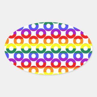 Gay Pride Rainbow Circles Oval Sticker