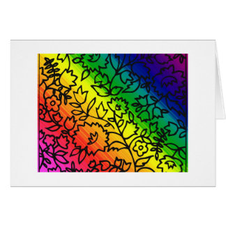 Gay Pride Rainbow Colors, Lace Floral, Card