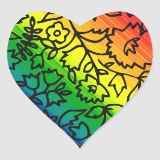 Gay Pride Rainbow Colors, Lace Floral, Heart Sticker