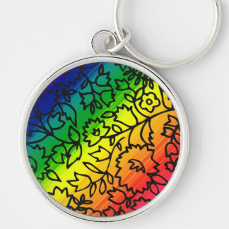 Gay Pride Rainbow Colors, Lace Floral, Key Chain