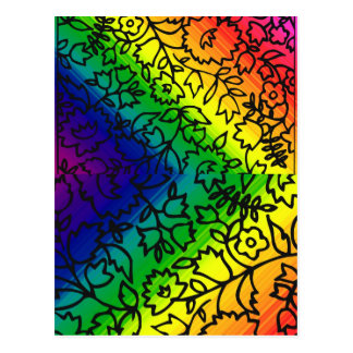 Gay Pride Rainbow Colors, Lace Floral, Postcards