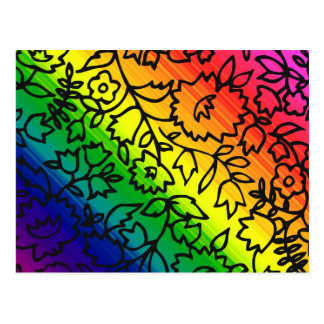 Gay Pride Rainbow Colors, Lace Floral, Post Card