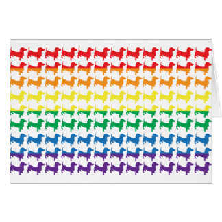 Gay Pride Rainbow Dachshunds Card