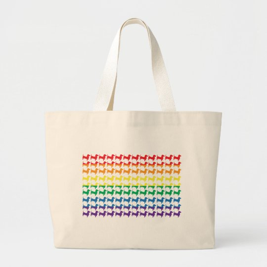 Gay Pride Rainbow Dachshunds Large Tote Bag