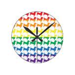 Gay Pride Rainbow Dachshunds Round Wallclocks