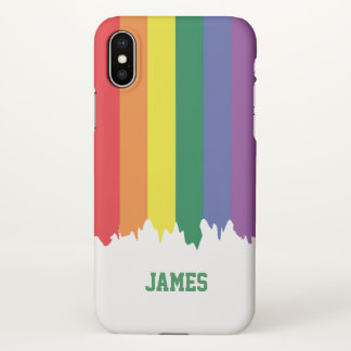 Gay Pride Rainbow Dripping Paint Personalized LGBT iPhone X Case