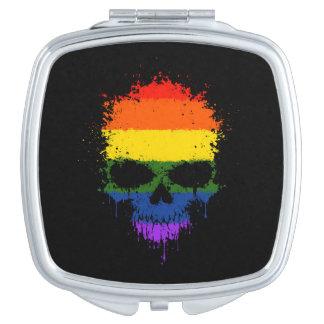 Gay Pride Rainbow Dripping Splatter Skull Mirror For Makeup